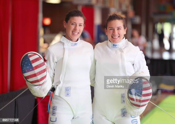 American Sisters Kelley Hurley and Courtney Hurley pose for the camera during warmup for the Women's Epee event on June 13 2017 The Hurley's would...