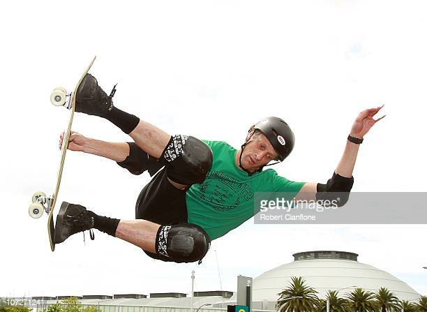 American skateboarder Tony Hawk performs at the Sydney 500 Grand Finale on the Sydney Olympic Park Street Circuit on December 3 2010 in Sydney...