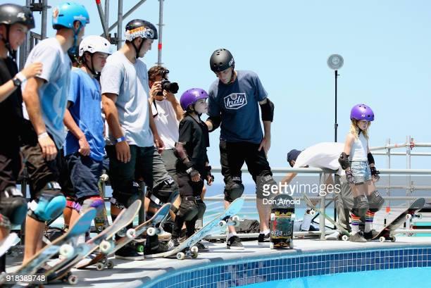 American skateboarding legend Tony Hawk chats to young Australian Skateboarder Sabre Norris at the BOWLARAMA 2018 media call at Bondi Beach on...
