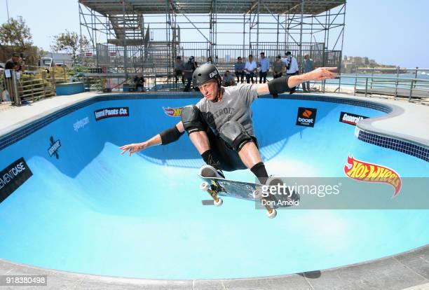 American skateboarding legend Tony Hawk performs a manoeuvre at the BOWLARAMA 2018 media call at Bondi Beach on February 15 2018 in Sydney Australia...