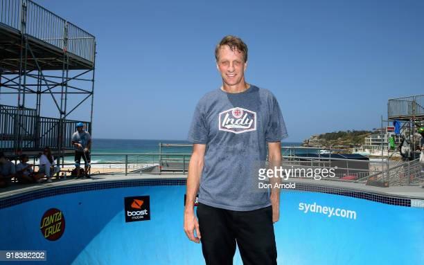 American skateboarding legend Tony Hawk poses at the BOWLARAMA 2018 media call at Bondi Beach on February 15 2018 in Sydney Australia BOWLARAMA is...