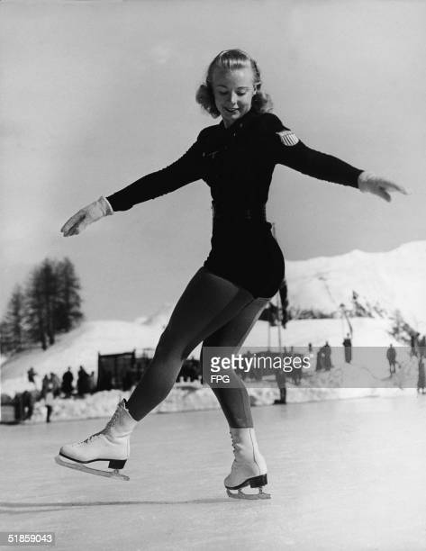 American skater Gretchen Merrill on the ice during her performance in the Ladies Figure Skating contest at the Olympic Games in St Moritz Switzerland...