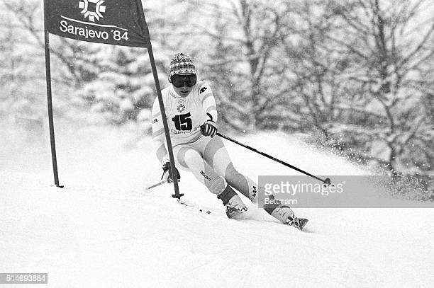 American skier Debbie Armstrong races to a gold medal for the Giant Slalom in the 1984 Olympic Games at Sarajevo. | Location: Jahorina, Yugoslavia.