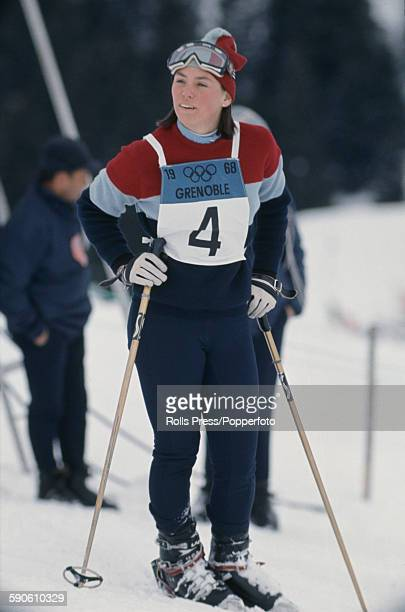 American skier Judy Nagel pictured during the Alpine slalom skiing competition at the 1968 Winter Olympic Games at Chamrousse near Grenoble in France...