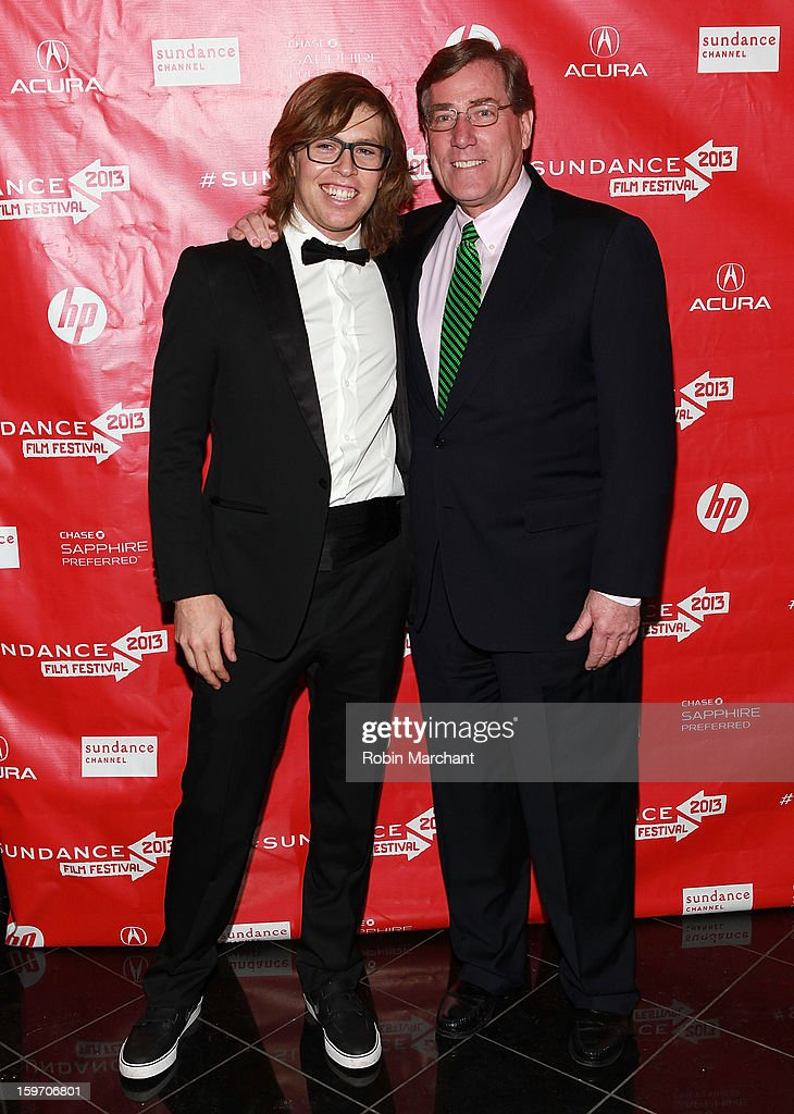 American snowboarder Kevin Pearce (L) and President and CEO of Zions Bank Scott Anderson attend 'The Crash Reel' Premiere at Rose Wagner Performing Arts Center on January 18, 2013 in Salt Lake City, Utah.