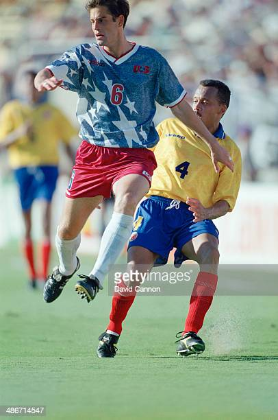 American soccer player John Harkes playing for the USA against Columbia in a FIFA World Cup Group A match at Stanford Stadium Stanford California...