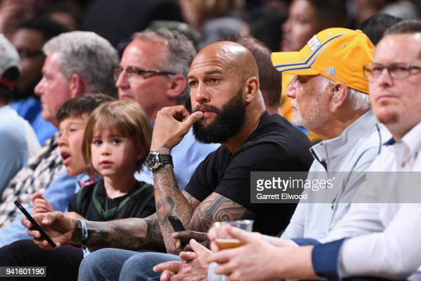 American soccer player Tim Howard seen at the game between the Milwaukee Bucks and the Denver Nuggets on April 1, 2018 at the Pepsi Center in Denver,...