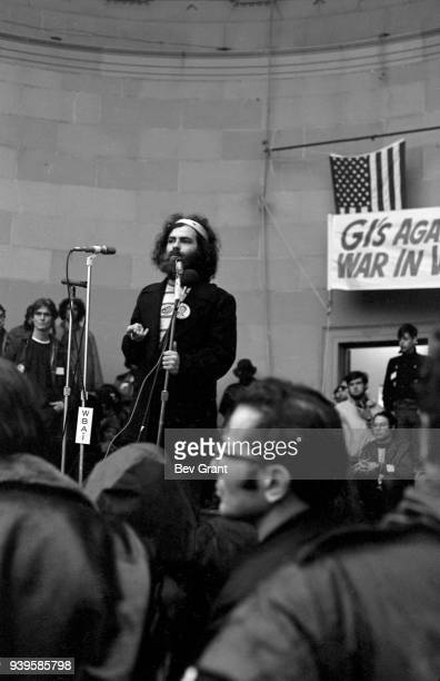 American social activist Jerry Rubin speaks at the Central Park bandshell during an 'GIs Against the War' antiVietnam rally New York New York April...