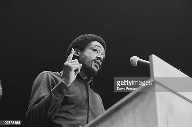 American social and activist, Black Panther co-founder Bobby Seale speaks from a lecturn at Crisler Arena, Ann Arbor, Michgan, December 10, 1971.