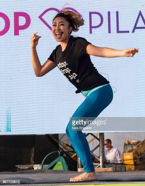 American social media fitness entrepreneur Cassey Ho on stage at Kite Beach on October 27, 2017 in Dubai, United Arab Emirates.