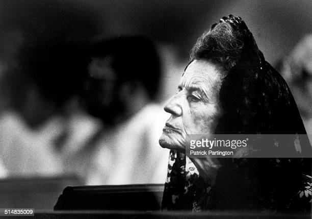 American socialite and matriarch of the Kennedy family Rose Kennedy attends an unspecified funeral at St Edward's Church, Palm Beach, Florida, 1979.