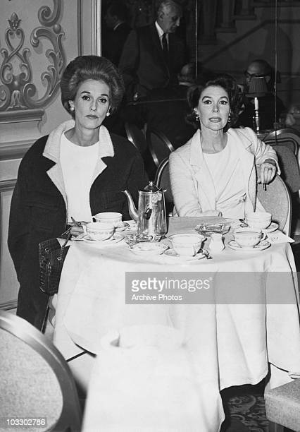 American socialite Babe Paley with Mrs Herbert Bayard Swope Jr in the Crystal Room of the Sherry Netherland Hotel New York City 1964 They are there...