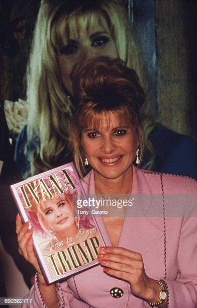 American socialite Ivana Trump holding her new book 'Free To Love' at the National Association of Television Program Executives international...
