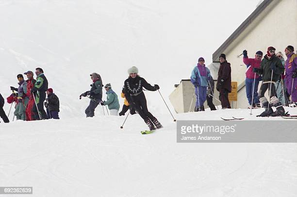 American socialite Ivana Trump skiing at Crans-Montana, Switzerland, 1997. Ivana is the ex-wife of American businessman Donald Trump.