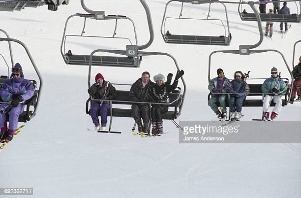 American socialite Ivana Trump with her husband Riccardo Mazzucchelli on the ski lift at CransMontana Switzerland 1997 Ivana is the exwife of...