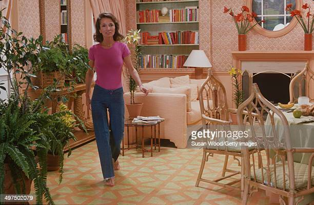 American socialite Lee Radziwill in her dining room, March 1976.