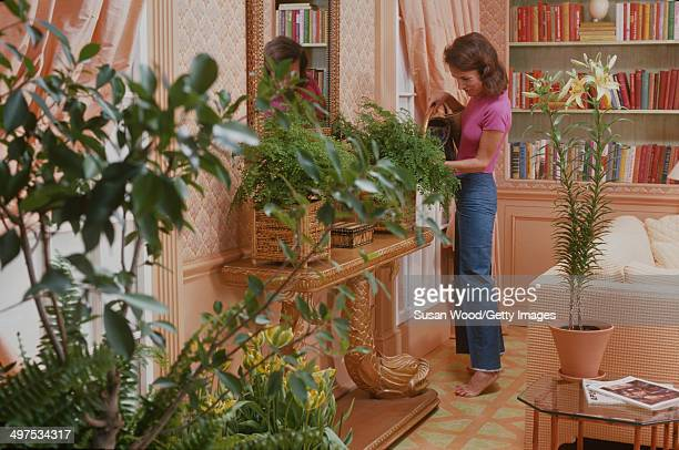 American socialite Lee Radziwill waters plants in her dining room, March 1976.