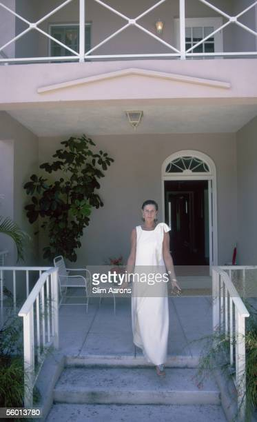 American socialite Nancy 'Slim' Keith Lady Keith steps onto her porch in Lyford Cay New Providence Island April 1974
