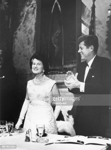 American socialite Rose Kennedy smiles as her son, US President John F Kennedy , applauds her at the Joseph P Kennedy Jr Foundation's First...