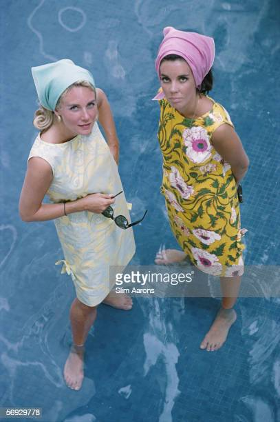 American socialite Wendy Vanderbilt and another woman wearing Lilly Pulitzer sun dresses in Palm Beach Florida 1964