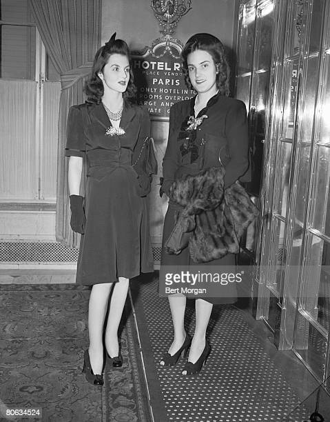 American socialites Brenda Diana Duff Frazier and Marion Oates pose together in the Hotel Ritz Paris France October 15 1940