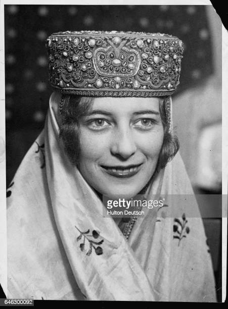 American society debutante Janet McLeay wearing a 100000 dollar crown after winning the title of Miss Oriental ca 1935
