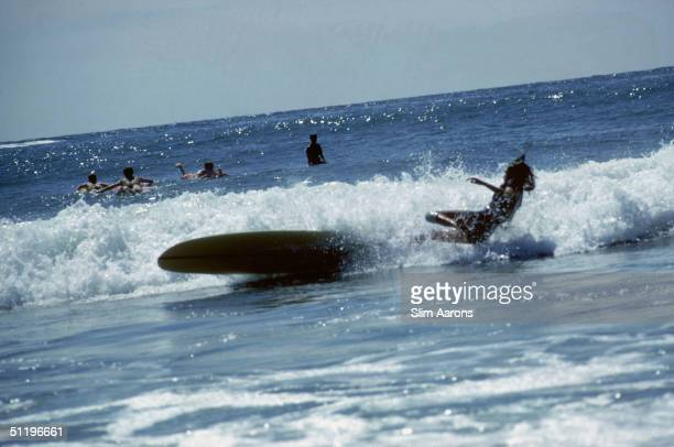American society girl Minnie Cushing topples off her surfboard as the wave breaks September 1965