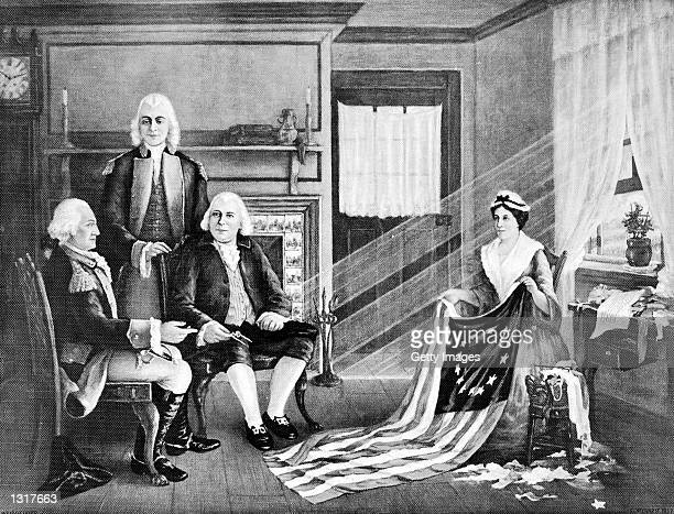 American Soilder and first President of the United States General George Washington and members of congress consulting with Betsy Ross s at 239 Arch...