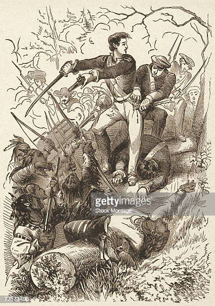American soldier and later politician Sam Houston leads his troops against the Creek tribe during the Battle of Horseshoe Bend in the Creek Wars...