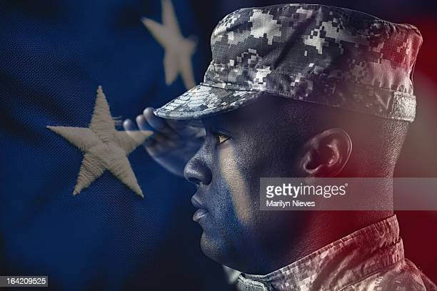 american soldier at attention - saluting stock pictures, royalty-free photos & images