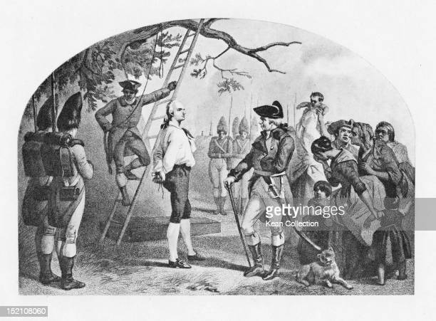 American soldier of the Continental Army Nathan Hale is hanged as a spy by British Manhattan Island New York 22nd September 1776 Photogravure after...