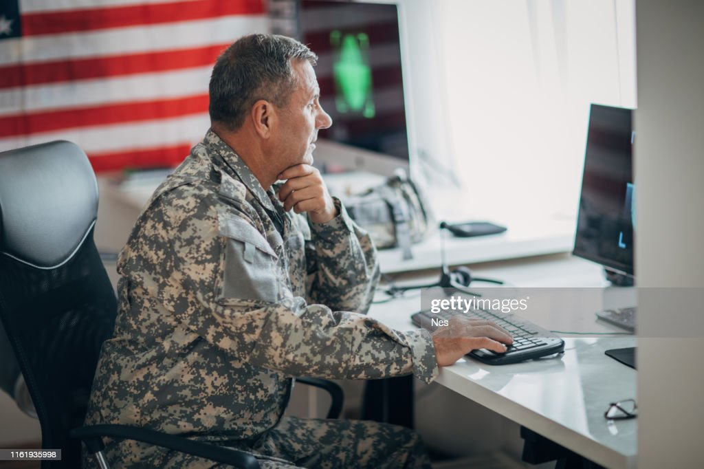 American soldier on the job : Stock Photo