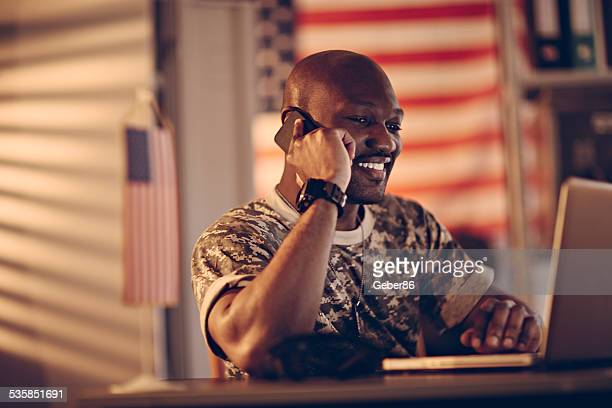 American soldier on the phone