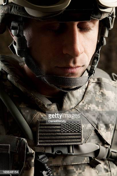american soldier - soldier praying stock photos and pictures