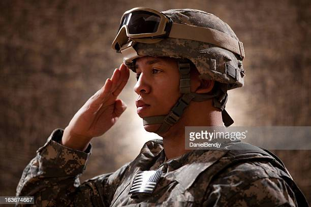 american soldier saluting - saluting stock pictures, royalty-free photos & images