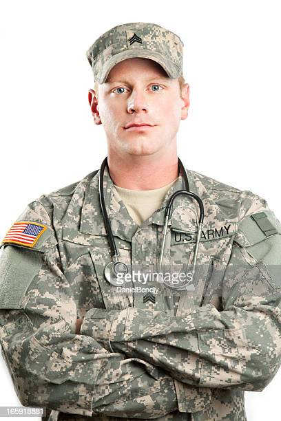 american soldier series: young sergeant against white background - military doctor stock photos and pictures