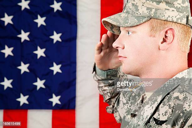 american soldier series: young sergeant saluting - saluting stock pictures, royalty-free photos & images