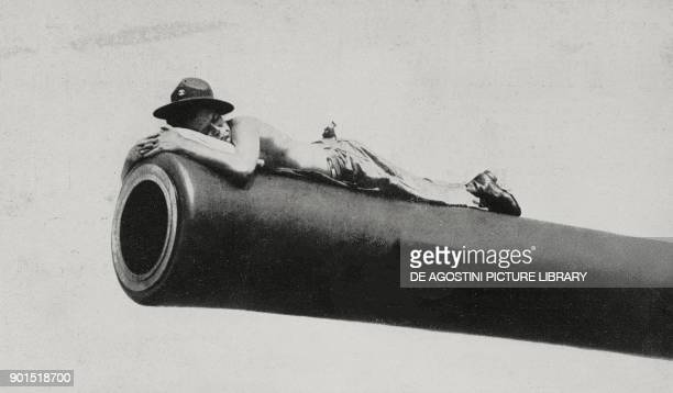 American soldier sleeping on a cannon at Pearl Harbor United States of America World War II from L'Illustrazione Italiana Year LXVIII No 52 December...