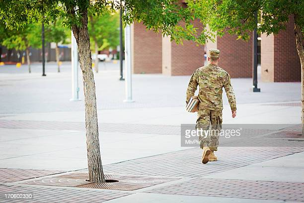 American Soldier with books