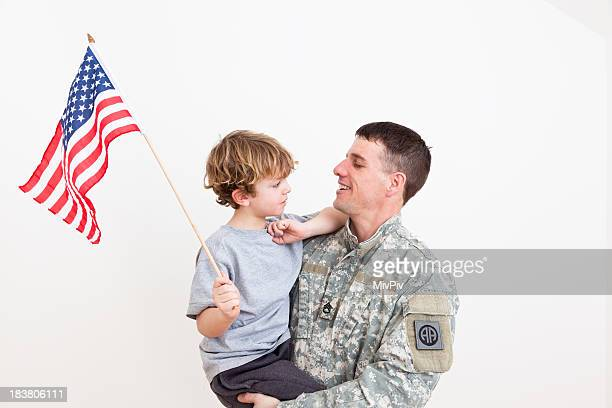 American soldier with his son