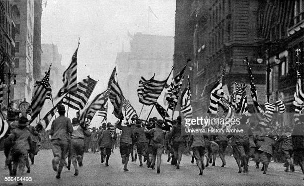 American soldiers at the declaration of War in 1917 New York City World War One