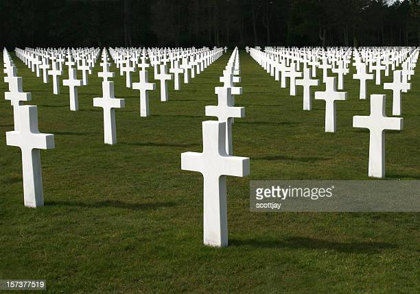 american soldiers cemetery near normandy, france. - cross shape stock pictures, royalty-free photos & images