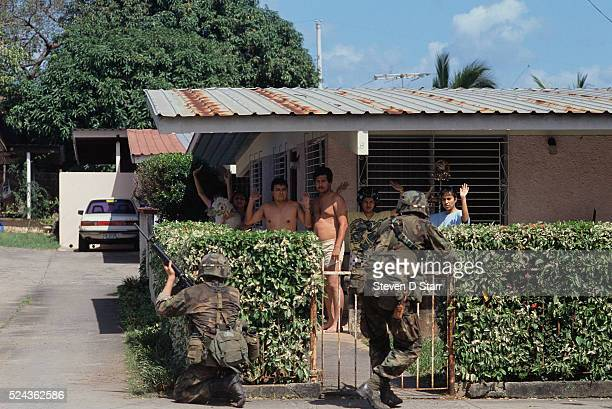 American soldiers detain a group of men during the invasion of Panama The United States invaded Panama in 1989 to bring leader Manuel Noriega back to...