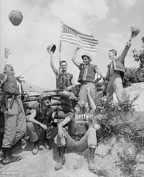 American soldiers in the Korean War celebrate cease-fire