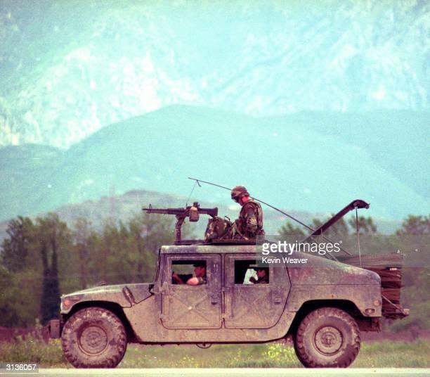 American soldiers near Tirana Albania during the Kosovo crisis