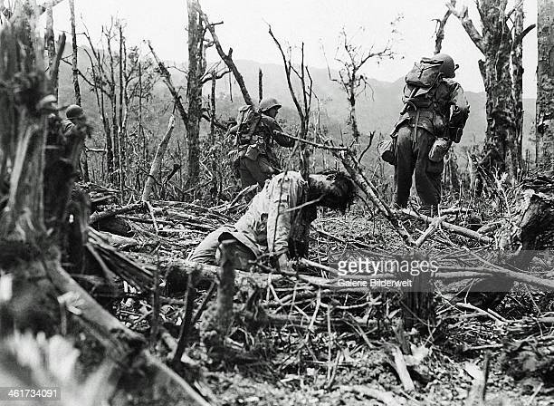 American soldiers of the 25th Division advance at the edge of the Balete Pass in northern Luzon 12th April 1945 They pass a dead Japanese soldier...