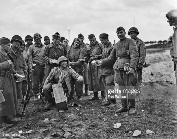American soldiers of the United States 9th Army link up with soldiers of the Soviet Red Army on 30th April 1945 near Griebo Germany