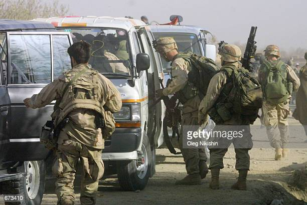 American soldiers prepare to fight against Taliban forces November 26 2001 at the fortress near MazareSharif northern Afghanistan The fighting came...