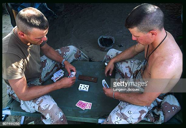 American soldiers relax in camp while stationed in Saudi Arabia during Operation Desert Shield Iraqi president Saddam Hussein invaded Kuwait in...