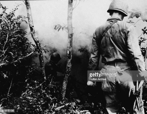 American soldiers use phosphorous and hand grenades to clear the jungle of Japanese snipers during the struggle for Okinawa Island, Japan, Spring...